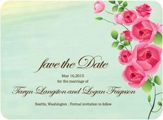 Colorful Sweet Rose Blooms Save The Dates Card HPS082