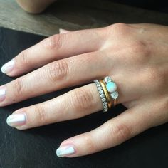 Vintage gold Edwardian opal engagement ring stacked with our Golden Hoop band
