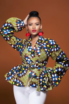 Shop Grass-fields African Print Fashion Bamenda Wrap Top with its bold design and vibrant colour ways, this exciting African Print Wrap Top with Matching Belt is sure to turn heads, wherever you go. African Dresses For Women, African Print Dresses, African Attire, African Wear, African Fashion Dresses, African Women, Ghanaian Fashion, African Prints, Fashion Outfits