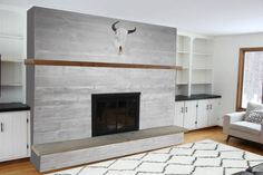Brick Fireplace Makeover   Bright Green Door Blog   Concrete Board Formed Fireplace