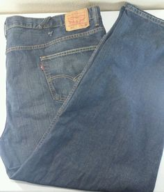 LEVIS 550 Blue Denim Jeans Distressed Regular Relaxed Fit Men's Tag Size 54 x 32 #Levis #Relaxed