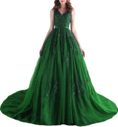 BanZhang Women's V Neck Beads Appliques Long Formal Evening Dresses With Train BZ332 Green 8. Item Material:tulle appliques. V Neck backless appliques beads a line tulle floor length long dress with train. Color may be lighter or darker due to the different PC display. Please check the left size chart and choose a right size, custom made size and color are all available.If you want, please email us your need. It's great for formal party, wedding, banquet, dance ball, special occasion and so…