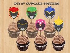 Printable Power Rangers Party CUPCAKE TOPPERS/ Stickers/ Labels/ Favors/ Tags/ Dino Charge Birthday Party ideas/ DIY Decoration/ Supplies/ Power Rangers Favor Bags/ Birthday Party Favors/ Goodie/ Good (Bottle Centerpieces With Balloons)