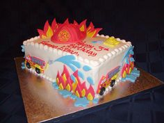 Fire truck themed bday cake