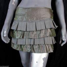 Bebe Tiered Ruffle Green Pinstripe Pleated Mini Skirt Designer NWT #bebe #Tiered