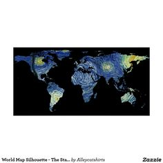 80 best world map silhouette images on pinterest silhouette world map silhouette the starry night poster gumiabroncs Gallery
