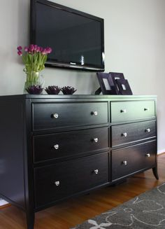 I have black furniture, This is what I am going to do to my dresser. Remove the mirror and out my Television on the wall.