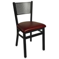 "BFM Seating 2161CBUV-SB Polk Sand Black Steel Side Chair with 2"" Burgundy Vinyl Seat"