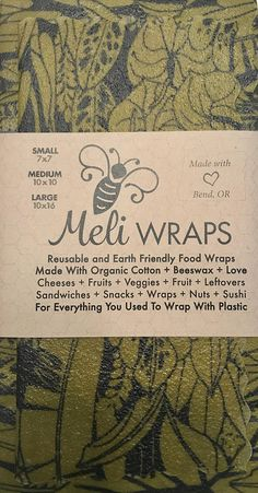 Reuesable Beeswax Food Wraps Variety Pack of 3 s/m/l