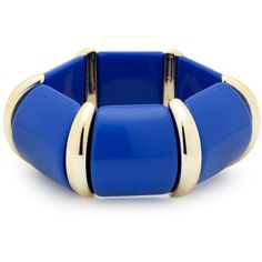 Blue Resin And Gold Segment Stretch Bracelet ($6.20) ❤ liked on Polyvore