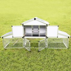 """96""""L New Small Animal Hutch Pet Cages Aluminum Chicken Coop Backyard Hen House #WALCUT"""