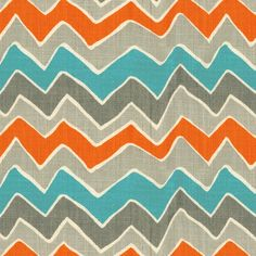 Keep going back to these colors. Don't love the pattern here. Gray and Orange See Saw Fabric Sold by the Yard #carouseldesigns