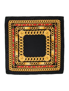 cbcb35af9b34 Black and multicolor Chanel scarf with chain-link print, interlocking CC  medallion motif,