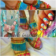 Bohemian Style Sandals ''Blue Sugar by GreekInspired on Etsy