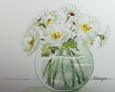 Watercolor Painting White Roses and Daisies by RoseAnnHayes. Print is available in Etsy shop. Very shabby chic.