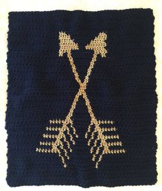Arrow Blanket Gold Arrows Crochet Blanket by CashmereCollectiveCo
