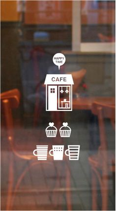 Happy Time Cafe Graphic Wall Vinyl Sticker by verryberrysticker Cafe Signage, Wayfinding Signage, Signage Design, Window Signage, Cafe Branding, Cafe Logo, Graphisches Design, Graphic Design, Graphic Wall