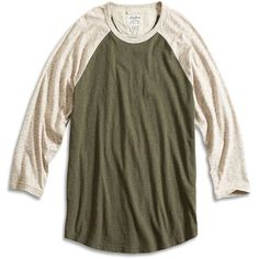 Lucky Brand Colorblock Baseball Tee ($28) ❤ liked on Polyvore featuring mens, men's clothing, men's shirts, men's t-shirts and oat multi