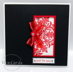 "320 - Handmade Card - ""Just For You'    #Red, #Black, #Sequins, #Diamantes"