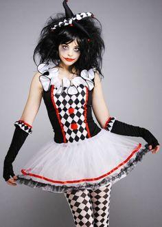 Teen Size Harlequin Honey Gothic Clown Costume