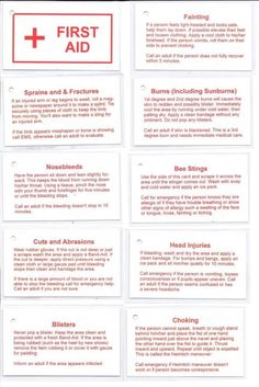 Beehive Messages: Young Women& Camp 2010 - First Aid Cards - Girl Scout Activities - First Aid Tips, Basic First Aid, First Aid For Kids, First Aid For Burns, First Aid Kit Checklist, Girl Scout Badges, Brownie Girl Scouts, Girl Scout Leader, Girl Scout Troop