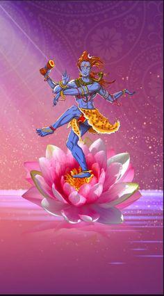 Lord Shiva as Nataraj on lotus in creative art painting Shiva Art, Shiva Shakti, Gujarati Garba Songs, Bonsai Tattoo, Om Namah Shivay, Lord Mahadev, Hd Wallpapers 1080p, Shiva Wallpaper, Krishna Painting