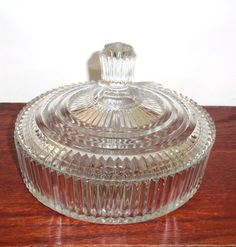 "QUEEN MARY CLEAR Crystal 1930's  Anchor Hocking Depression Glass 7"" Round Candy Bowl Jar Box Lidded Covered Excellent Condition. $34.99, via Etsy."