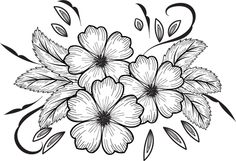 Flower Art Drawing, Flower Sketches, Art Drawings Sketches, Easy Drawings, Flash Art, Hand Embroidery Patterns, Art Sketchbook, Fabric Painting, Paint Designs