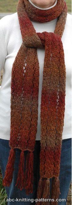 ABC Knitting Patterns - Chevron Lace Scarf