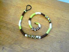 Atebas amovible verte blanche et marron - 41 Tresse indienne : Accessoires coiffure par stonanka