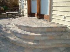 Image result for steps down from house to patio