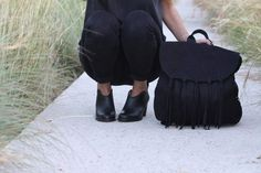 """""""Sojo"""" Curved booties in black leather Www.most-chic.com"""