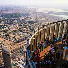 The viewing deck at The Top - Burj Khalifa, Dubai, UAE Dubai City, Dubai Mall, Countries To Visit, Places To Visit, Travel Around The World, Around The Worlds, Dubai Travel, United Arab Emirates, Burj Khalifa