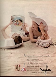 Vintage summertime fun and beauty via a Naylon cosmetics ad. #vintage #1940s #nailpolish #ads