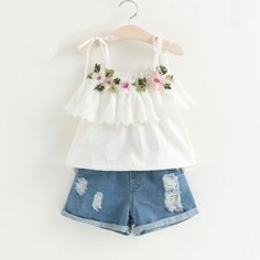 Cute Toddler Kids Baby Girl Floral Print Ruffled Tops Bow Denim Shorts 2PC Outfits Willsa Girls Outfits