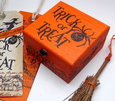 Halloween Keepsake Box with Gift Tag And Witches by missbohemia, £7.50