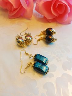Earrings Blue or Brown or Silver Pierced Handmade Women's or Teen Girl's Gift E#289 A, B or C