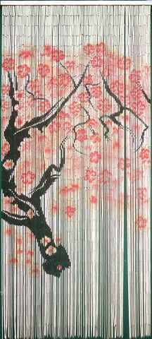 Cherry Blossom Tree Painted Bamboo Curtain, 125 Strand x W Doorway Curtains For Closet Doors, Beaded Curtains Doorway, Bamboo Beaded Curtains, Drapes Curtains, Asian Curtains, Bamboo Store, Door Beads, Painted Bamboo, Hand Painted