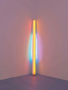 Dan Flavin, untitled,1978, pink, yellow, green, and blue fluorescent light, 8 ft. (244 cm) high.