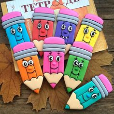 Colorful pencil cookies