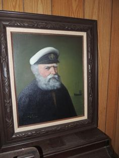 There is not much to love about New Jersey estate sales, but one thing I love very much is the large number of Old Sea Cap'n paintings. Found on EstateSales.NET: Old Sea Cap'n painting signed J. Fuller