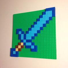 Lego Minecraft Ideen Minecraft The Lego minecraft idea & lego minecraft ideas & le Lego Minecraft, Minecraft Room Decor, Minecraft Bedroom, Minecraft Crafts, Minecraft Sword, Deco Lego, Boy Room, Kids Room, Lego Wall Art