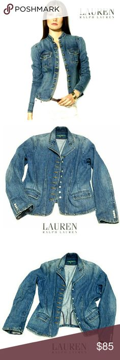 "LAUREN RALPH LAUREN MILITARY STYLE JEAN JACKET LAUREN RALPH LAUREN MILITARY STYLE JEAN JACKET Pre-Loved  /Image for Similarity Only SZ L Very Feminine Looking Fitted Military Style Jacket w/Soft Collar and 9 Flat Pearl like Buttons Lining Center. Closing Two Front Flap Pockets Button Detailed on Cuff Approx Meas;       *   Armpit to Armpit   20""    *   Neckline to Hem L   24""    *   Sleeve Length   19 1/2"" Pls. See All Pics. Ask ? If Not Sure Lauren Ralph Lauren Jackets & Coats Jean Jackets"
