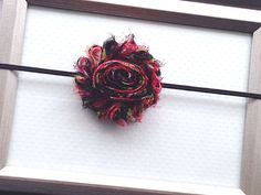 Black Red Floral Headband Shabby Chic Headband by PlumPolkaDot, $6.00