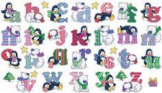 Cross Stitch Alphabet Free Printable | Maria Diaz Designs: PENGUINS/POLAR BEARS…
