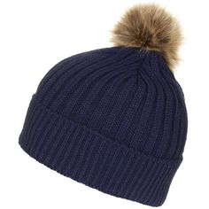 TOPSHOP Faux-Fur Pom Beanie ($20) ❤ liked on Polyvore featuring accessories, hats, navy blue, navy blue beanie, topshop, pom beanie, fake fur hats and faux fur pom pom hat