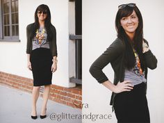 styled pencil skirt with a basic tee