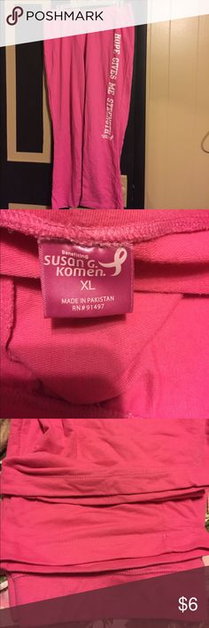 Susan G Komen breast cancer awareness sweatpants Susan G Komen breast cancer awareness sweatpants. Size xl. Never dried in dryer. Is missing string from pants. Susan G. Komen Pants Track Pants & Joggers