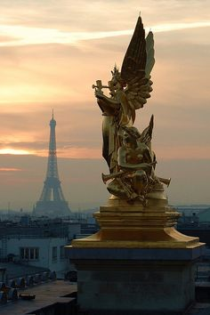 Eiffel Tower view from Opera Garnier's roof, Paris, France (by just4kiss).