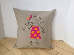 Stick Girl Whimsical Appliqué Pillow Coverready by CalcoCreations, $18.00